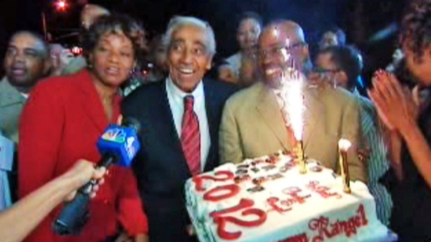[NY] Charlie Rangel Celebrates Primary Win With Sparkler Cake