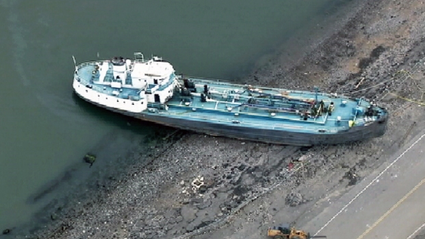 Tanker Washes Ashore on Staten Island