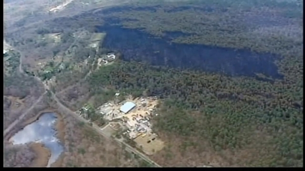 [NY] Aerial View: Long Island Fire Damage