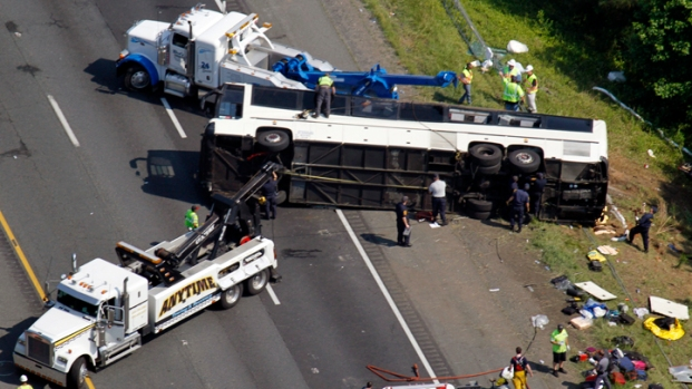 [NY] Chopper Video: NYC-Bound Tour Bus Overturns, 4 Dead