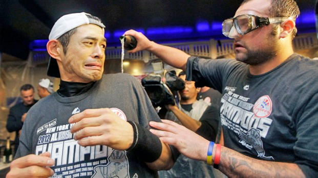 Yankees Celebrate Division Title with Champagne