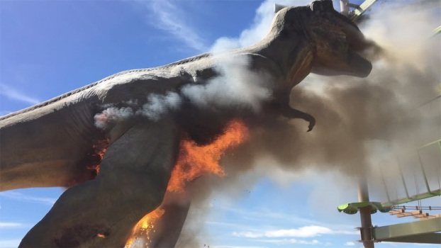 Raw: Life-Size T-Rex Goes Up in Flames