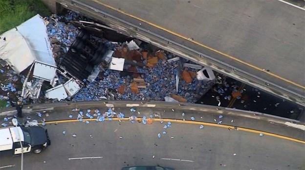 Unfortunate Truck Spills: Beer Scattered on L.A. Highway