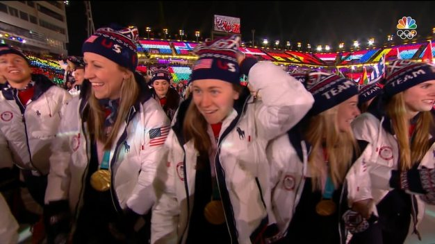 Team USA Enters Olympic Stadium for Closing Ceremony