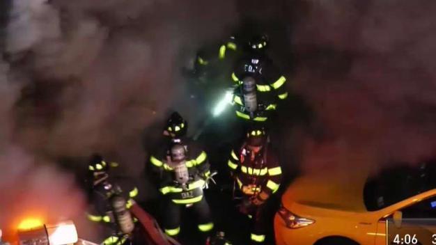 Firefighters in Path of Huge Fire Blast in Queens