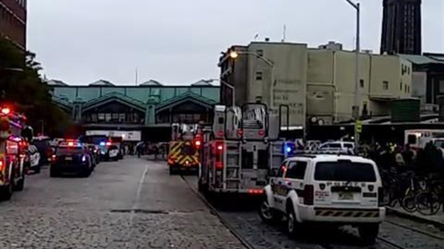 Emergency Responders On Scene of Hoboken Train Crash
