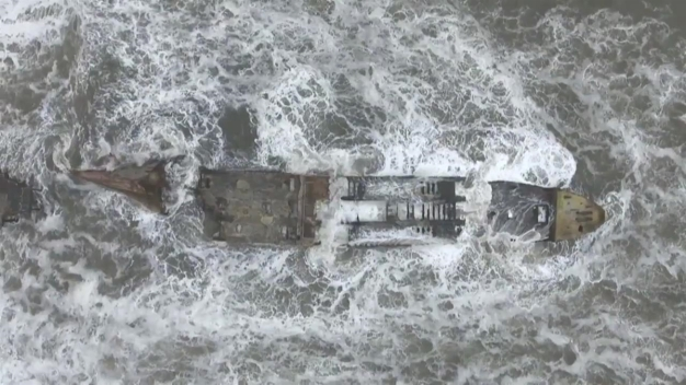 RAW: Drone Flies Over SS Palo Alto Off Santa Cruz County Coast