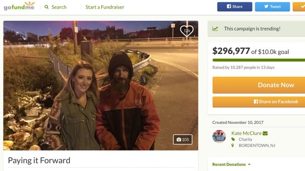 NJ Woman Raises $315K for Homeless Man After Selfless Act