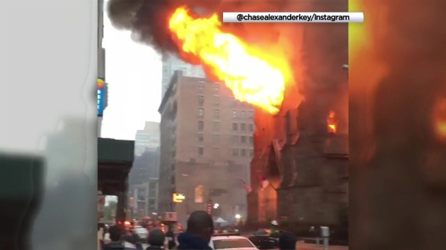 Fire Destroys Cathedral in Manhattan