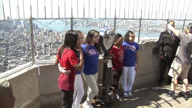 Final Five Gymnastics Team Appear on Top of Empire State Building