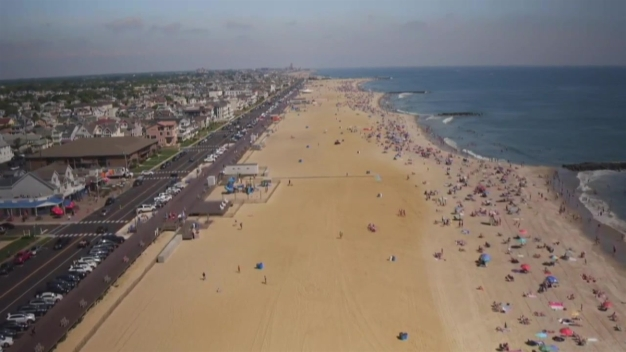 Great Drone View of Jersey Shore During Treat Truck Visit