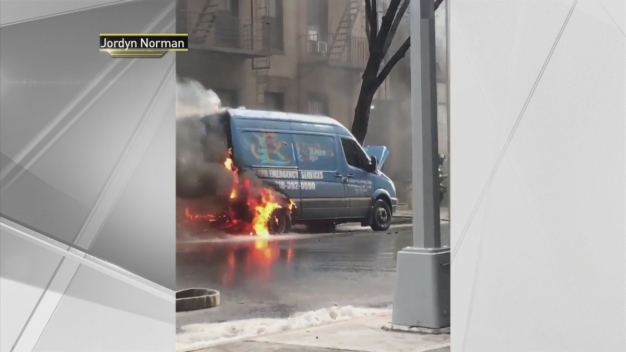 Dramatic Footage Captures Flaming Cars on NYC Street