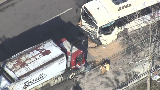 Chopper 4 Over Scene of NJ Transit Bus, Garbage Truck Crash