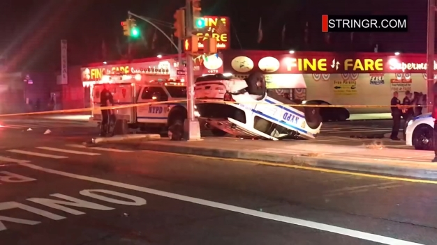NYPD Officers Injured After Cruiser Flips in Brooklyn