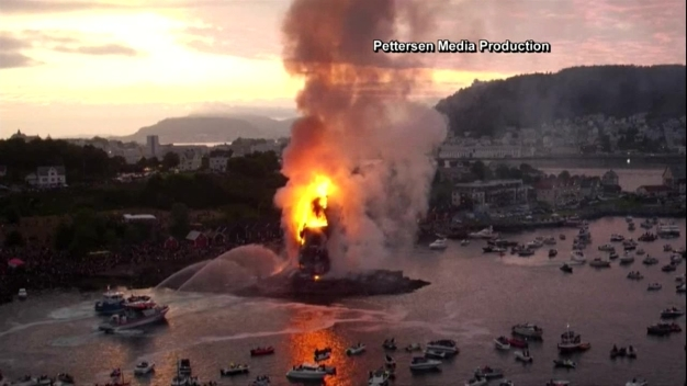 World's Tallest Bonfire Set Ablaze