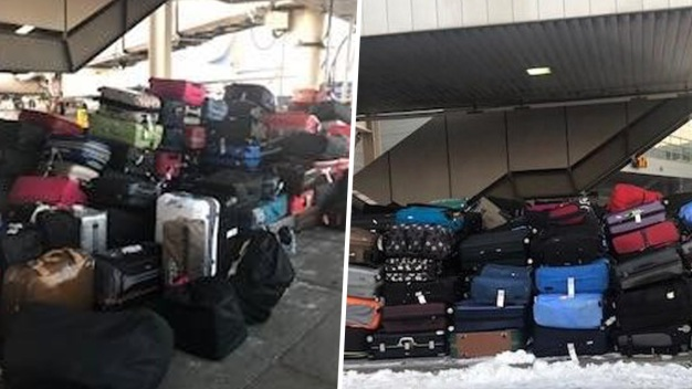 Hundreds of Lost JFK Bags Sit Outside in Snow As Owners Wait