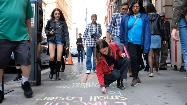 NYC Pedestrians Shocked by Catcalls Written on Sidewalks