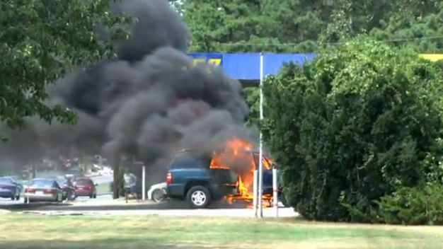 Car Catches Fire While Driving Into NJ Gas Station
