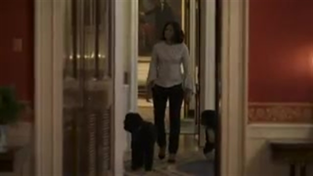 Michelle Obama Takes Dogs for Last Walk Around White House