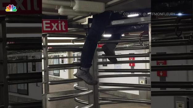 Man Gets Stuck Trying to Slip MTA Turnstile