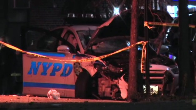Police Car Swerves onto Sidewalk, Hits Pedestrian NYPD