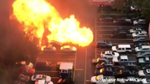 Food Truck Explodes, Sparks Insane Fire Caught on Cam