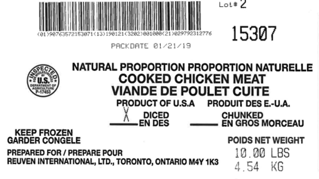 Listeria Risk Prompts Recall of 135K Lbs. of Frozen Chicken}