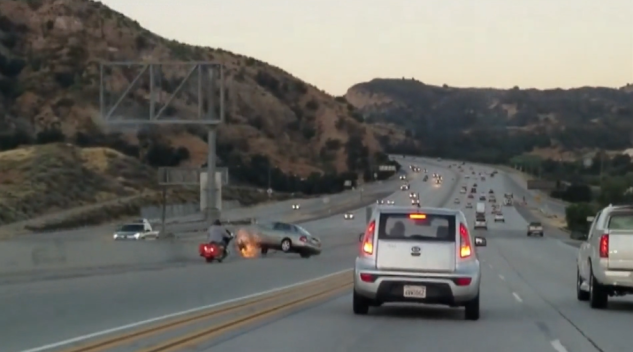 Road Rage: Motorcyclist Kicks Sedan, Sparks Fiery Crash