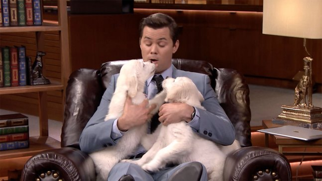 'Tonight': Pup Quiz With Andrew Rannells and Katie Holmes