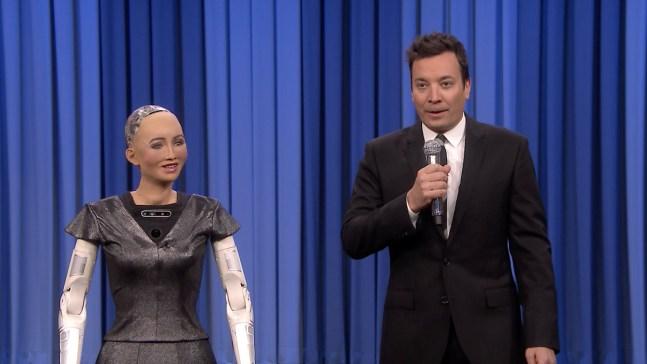 'Tonight': Sophia the Robot, Fallon Sing Duet of 'Say Something'