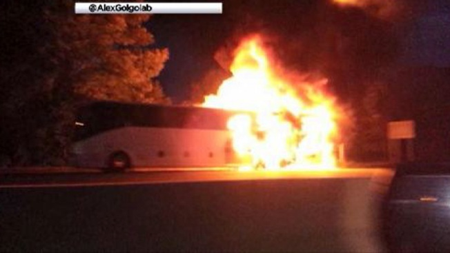 Tour Bus Catches Fire in NJ