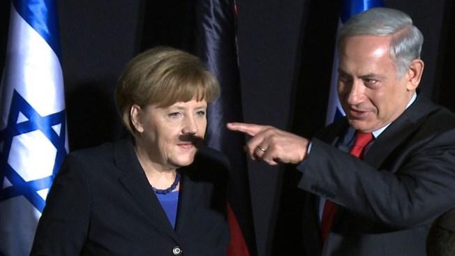 Unfortunate Mustache Shadow Helps Photo of Merkel, Netanyahu Go Viral