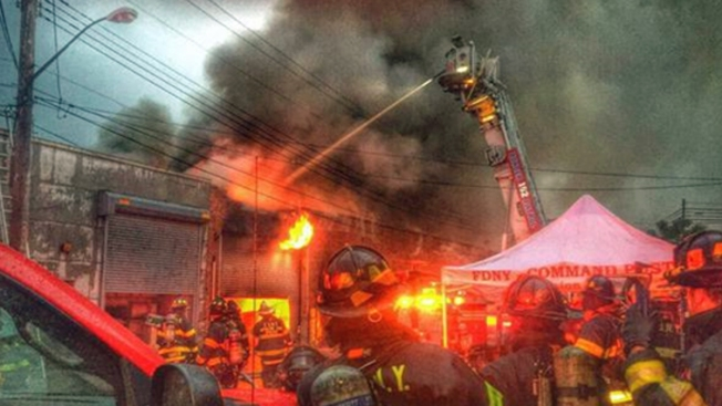 Fire Destroys Commercial Building in Queens: FDNY