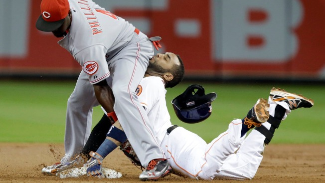 WATCH: Astros' Villar Slides Into Infielder's Backside