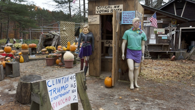 Toilets for Ballots at Mock NH Outhouse Voting Booth