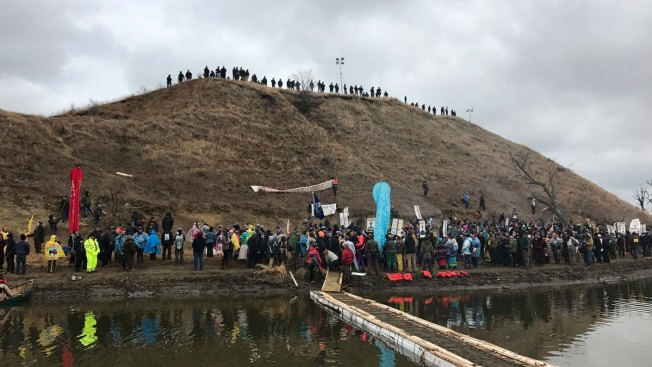 Anti-Pipeline Protesters Demonstrate on Thanksgiving Day
