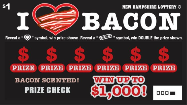 New Hampshire Lottery Releases Bacon-Scented Ticket