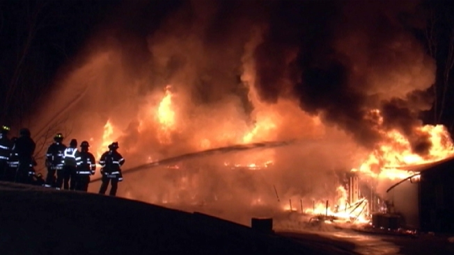 Fire Engulfs Building at Westchester County Golf Club