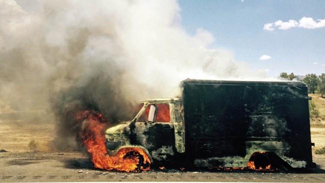 Fireworks-Filled Van Explodes on California Freeway