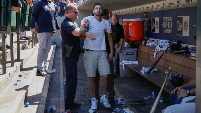 Disoriented Fan Falls From Stands Into Yankees Dugout at Safeco Field