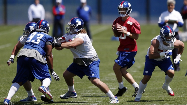 Eli Manning, Back From Ankle Surgery, Takes Field for Giants OTAs
