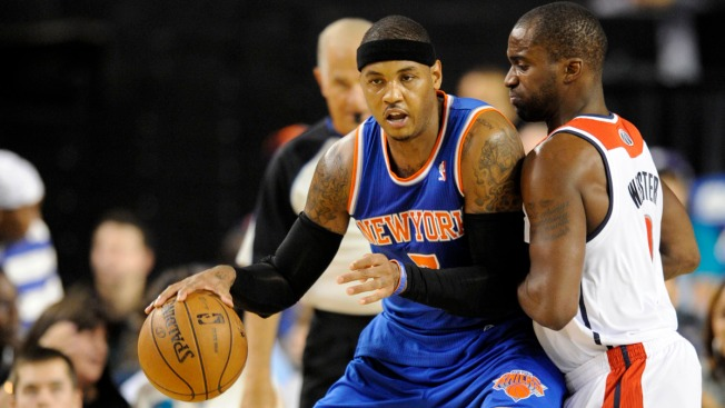 Carmelo Anthony Nets 22 in Knicks 98-89 Preseason Win Over Wizards