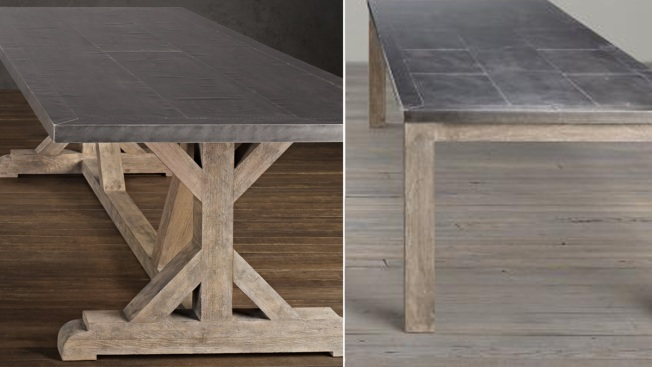 Restoration Hardware Recalls Metal Top Dining Tables Over