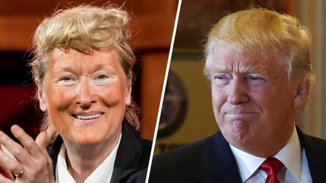 Meryl Streep Takes Stage Dressed as Donald Trump at NYC Gala