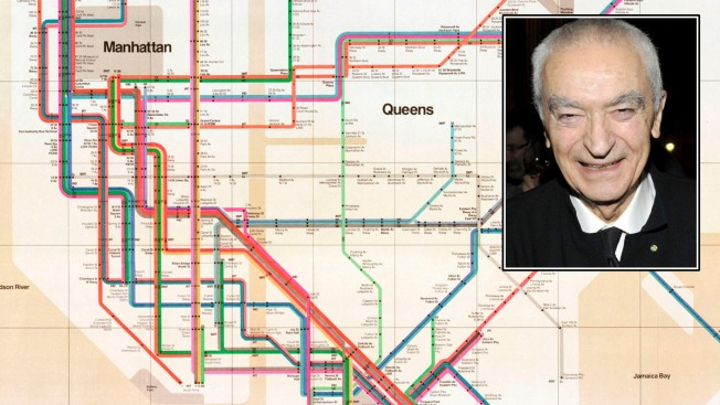 Massimo Vignelli 1972 Nyc Subway Map.Massimo Vignelli Subway Map Designer Dies At 83 Nbc New York