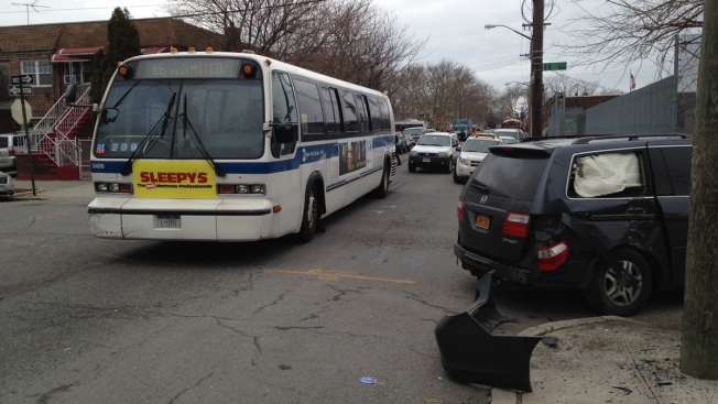 12 Injured 1 Seriously When Car Hits Mta Bus In Brooklyn