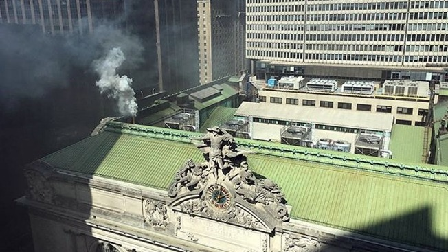 Smoke Billows Outside Grand Central Terminal After Fire at Junior's Restaurant