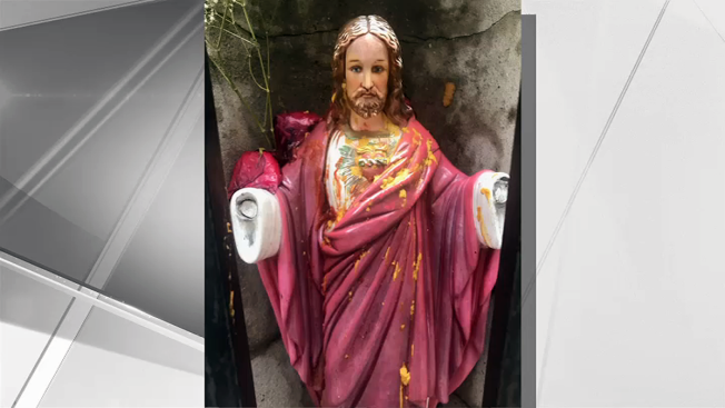 Jesus Statue Vandalized With Condiments: Church