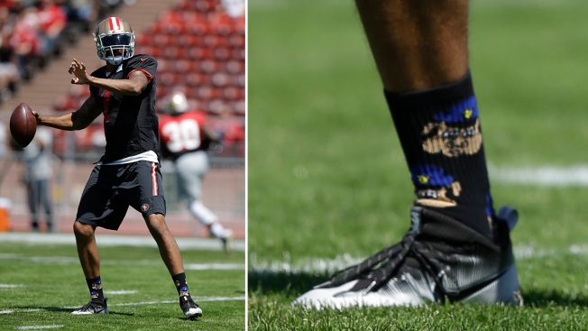49ers' Kaepernick Wears Socks Depicting Cops as Pigs
