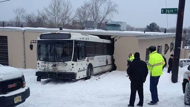 NJ Transit Bus Slides Off Icy Hill, Crashes Into Wall
